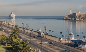 The Havana bay has seen a recent increase in cruise ship arrivals.