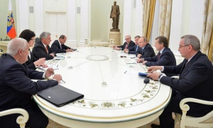 Russian President Vladimir Putin receives the First Vice President of Cuba's Councils of State and Ministers, Miguel Díaz-Canel, and accompanying Cuban delegation.