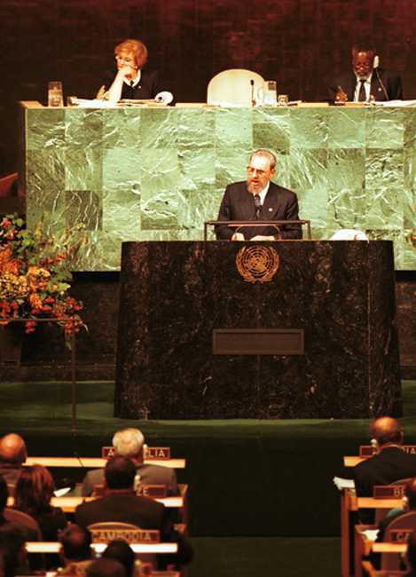 Fidel speaks before the United Nations in New York, on the inaugural day of the Millennium Summit, in September of 2000.