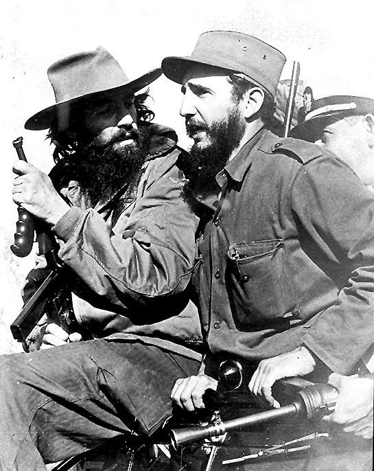 Fidel Castro and Camilo Cienfuegos entering Havana with the Liberty Caravan, after the triumph of the Revolution.