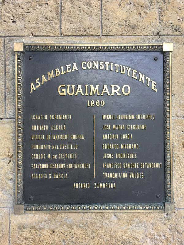 Bronze plaque recalling the Constitution of Guáimaro, the first of the four signed in the midst of Cuba's independence wars, and which appointed Carlos Manuel de Céspedes as the first president of the Republic of Cuba in Arms.