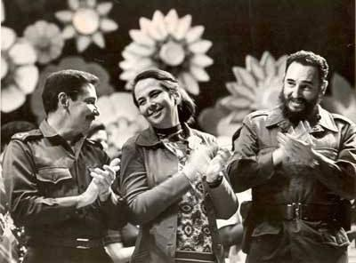 Vilma Espín with Fidel and Raúl.