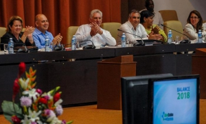 President Díaz-Canel participates in 2018 annual review of Cuba's pharmaceutical and biotechnology industry.