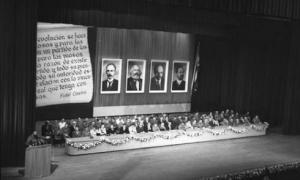 Comandante en Jefe Fidel Castro Ruz presents members of the Communist Party of Cuba's first Central Committee.